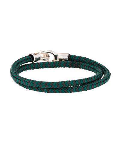 Men's Double Tour Rope Wrap Bracelet, Gray/Green