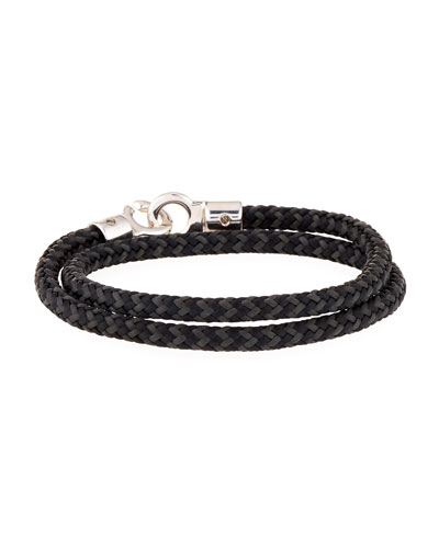 Men's Double Tour Rope Wrap Bracelet, Black