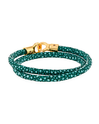 Men's Brunswick Stingray Wrap Bracelet, Dark Green