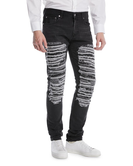 Alexander McQueen Destroyed Straight-Leg Jeans