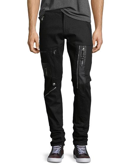Alexander McQueen Zip-Embellished Slim-Leg Jeans