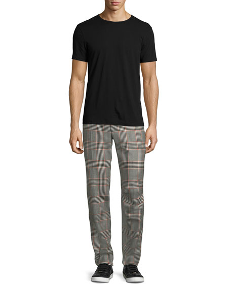 Glen Plaid Straight-Leg Wool Trousers