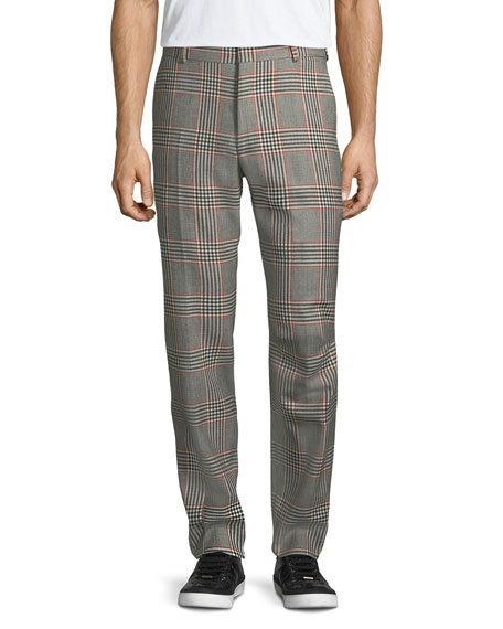 Alexander McQueen Glen Plaid Straight-Leg Wool Trousers