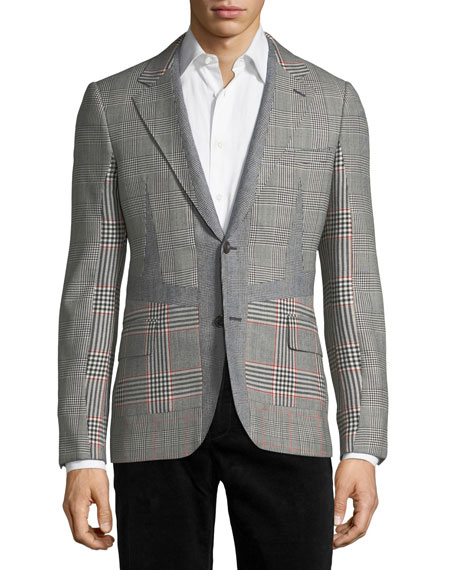 Alexander McQueen Wool Check-Panel Two-Button Blazer