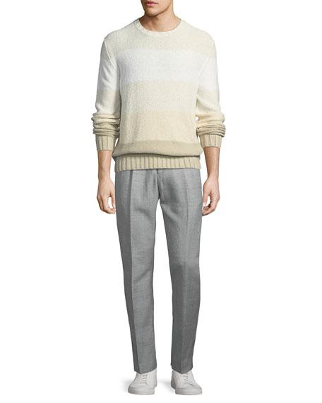 Drawstring-Waist Flat-Front Linen-Blend Pants
