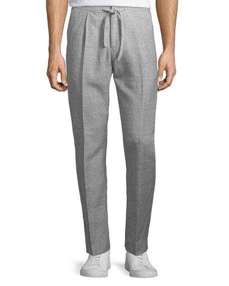 Loro Piana Drawstring-Waist Flat-Front Linen-Blend Pants