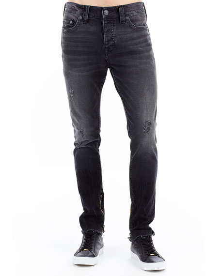 Finn Frayed Distressed Ankle-Zip Skinny Jeans