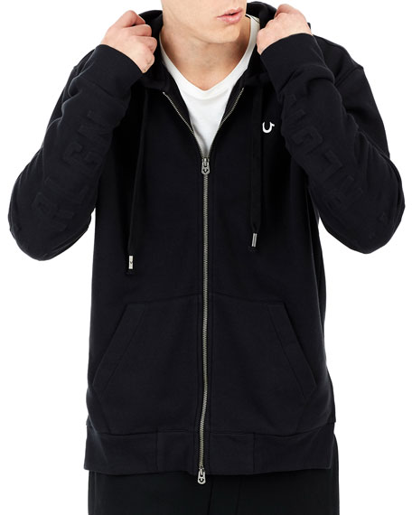 Embossed Elongated Zip-Front Hoodie