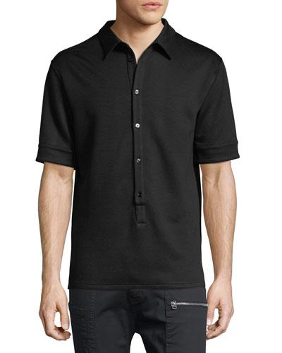Button-Placket Polo Shirt