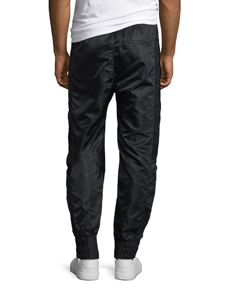 Sheet-Snap Satin Track Pants