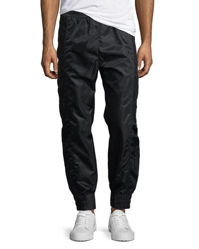 Sheet-Snap Satin Track Pants