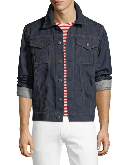 Helmut Lang Men's Striped-Back Denim Jacket
