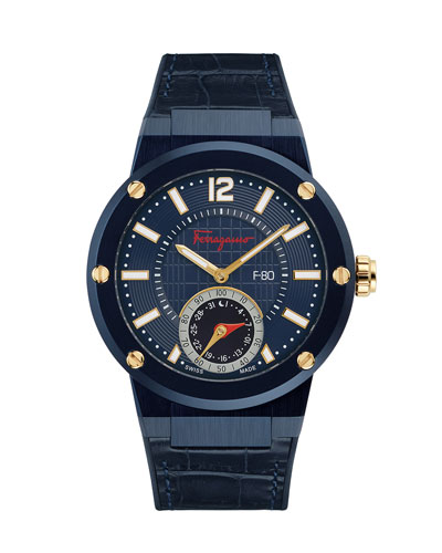 44mm F-80 Motion Leather Smartwatch, Blue