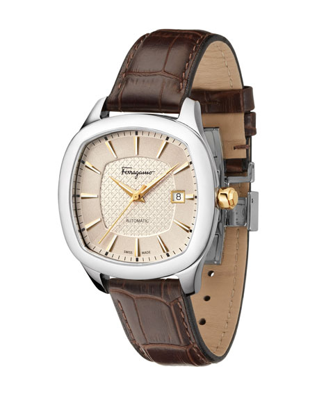 Automatic Square Leather Watch