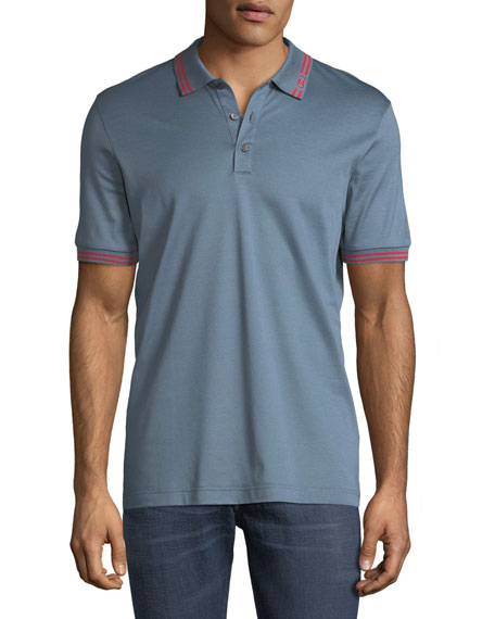 Men's Cotton Pique Polo Shirt w/ Gancini Detail