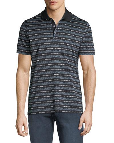 Men's Linear Abstract Cotton Polo Shirt