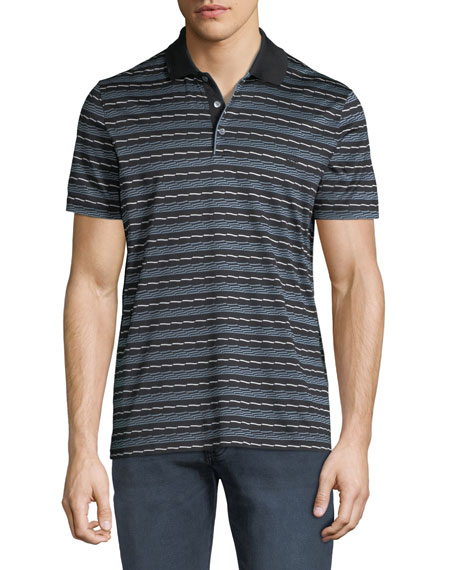 Salvatore Ferragamo Men's Linear Abstract Cotton Polo Shirt