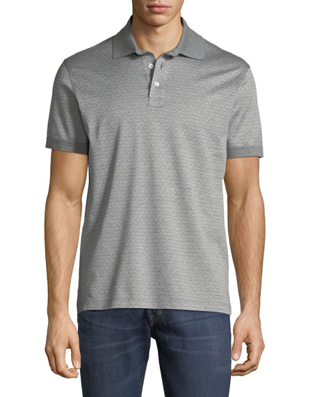 Salvatore Ferragamo Men's Cotton Gancini-Jacquard Polo Shirt