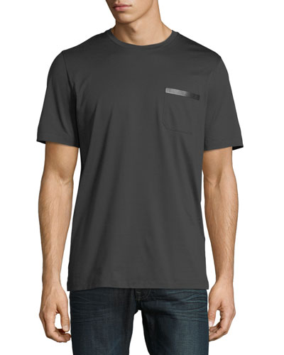 Men's Sateen-Finish Pocket T-Shirt w/ Leather Logo Plaque
