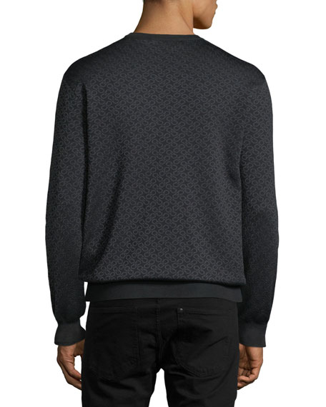Men's Gancini-Pattern Wool-Silk Sweatshirt