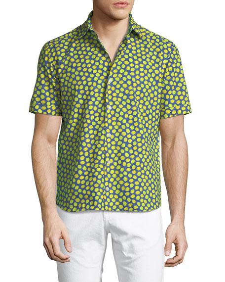 Lemon-Print Cotton Button-Down Shirt