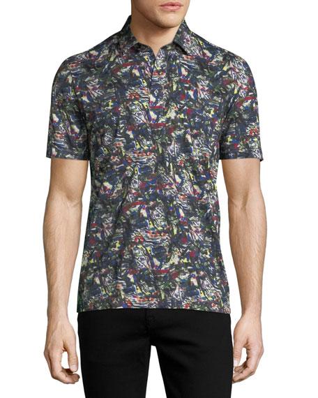 Graffiti Stroke-Print Cotton Polo Shirt