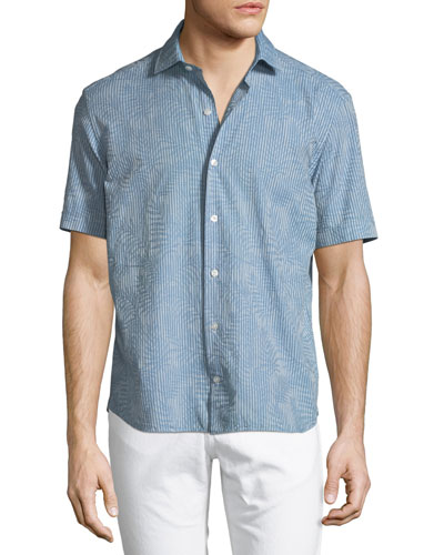 Jacquard-Print Short-Sleeve Button-Down Shirt