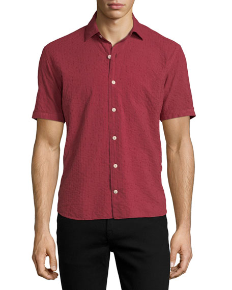 CULTURATA STRIPED SHORT-SLEEVE SPORT SHIRT