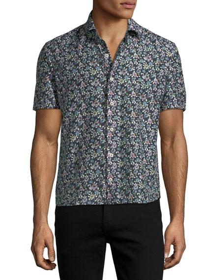 Floral-Print Short-Sleeve Sport Shirt