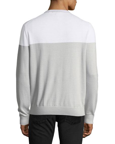Lightweight Colorblock Pima Crewneck Sweater
