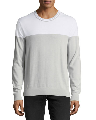 Lightweight Colorblock Pima Crewneck Sweater