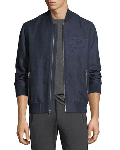 Striped Linen-Cotton Bomber Jacket