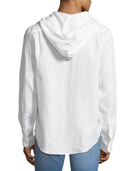 Cross-Dyed Linen Hooded Shirt