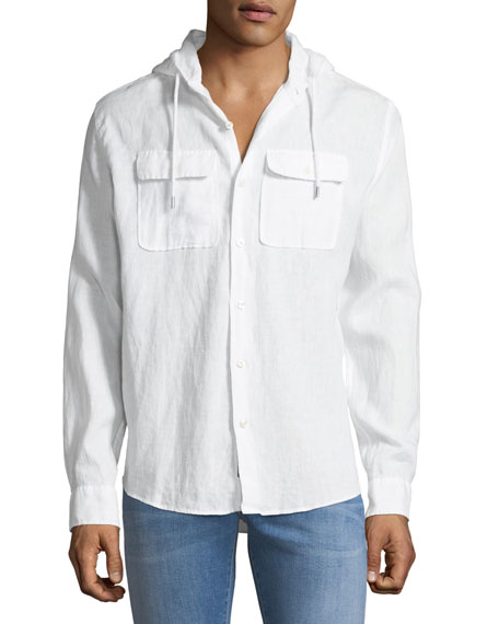 Michael Kors Cross-Dyed Linen Hooded Shirt