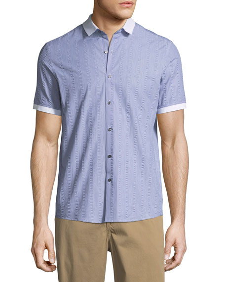 Michael Kors Slim-Fit Seersucker Short-Sleeve Sport Shirt