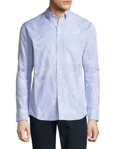 Palm Jacquard Slim-Fit Sport Shirt