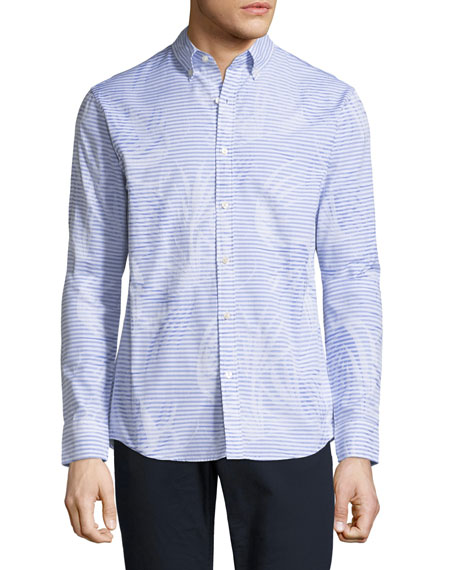 Michael Kors Palm Jacquard Slim-Fit Sport Shirt