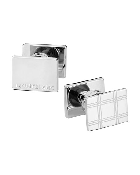 Essential Sartorial Check-Pattern Rectangular Steel Cuff Links