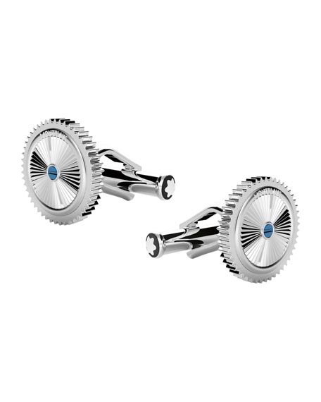 Emblem Stainless Steel Round Cuff Links