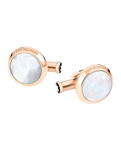 Mother-of-Pearl Round Rose Golden Cuff Links