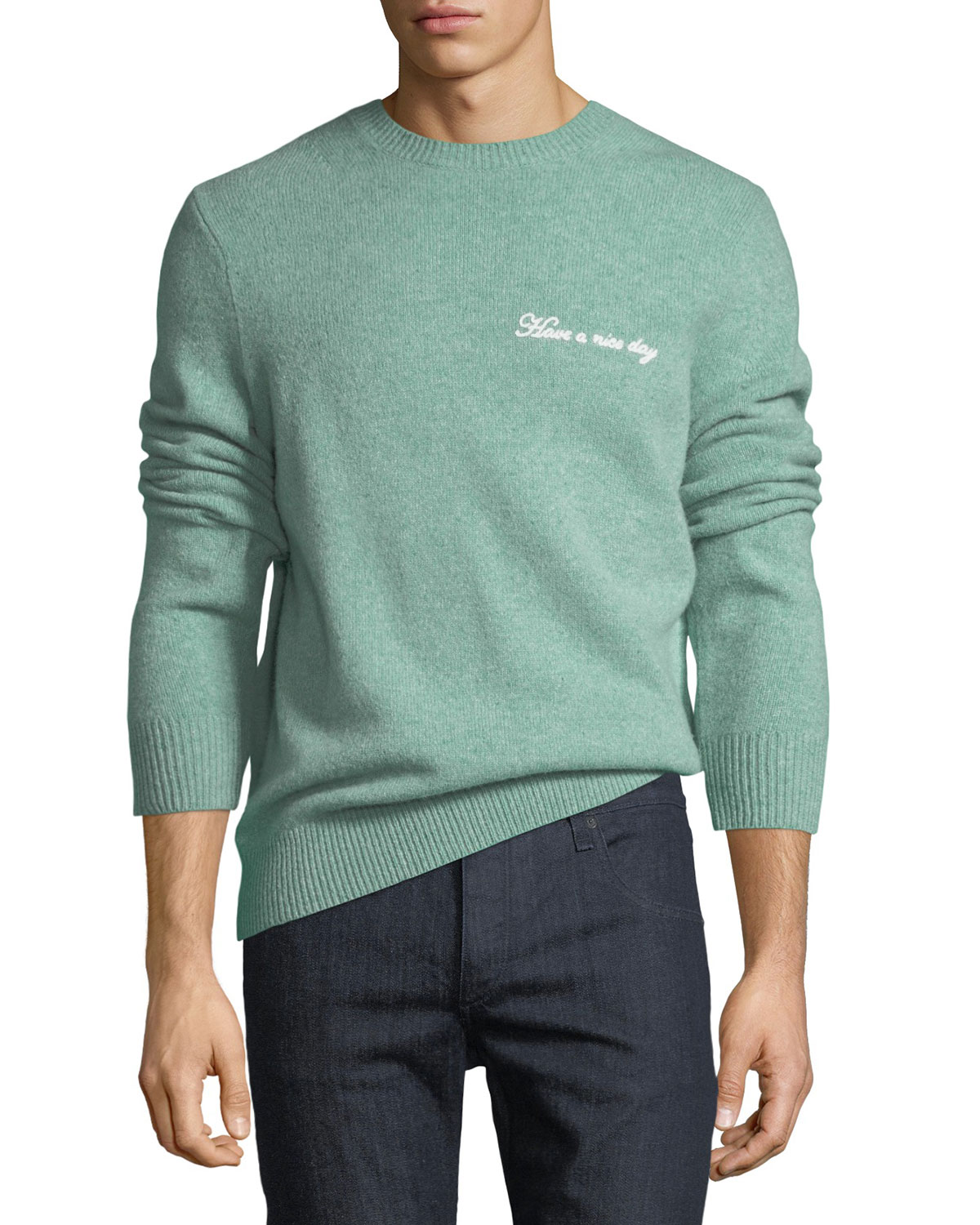 Rag Bone Mens Victor Wool Cashmere Nice Day Embroidered Sweater