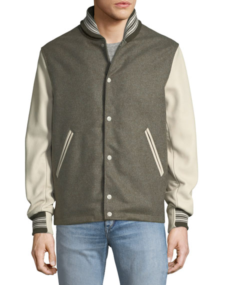 Men's The Golden Bear Wool Varsity Jacket with Leather Sleeves