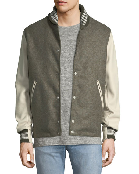 x The Golden Bear Wool Varsity Jacket with Leather Sleeves