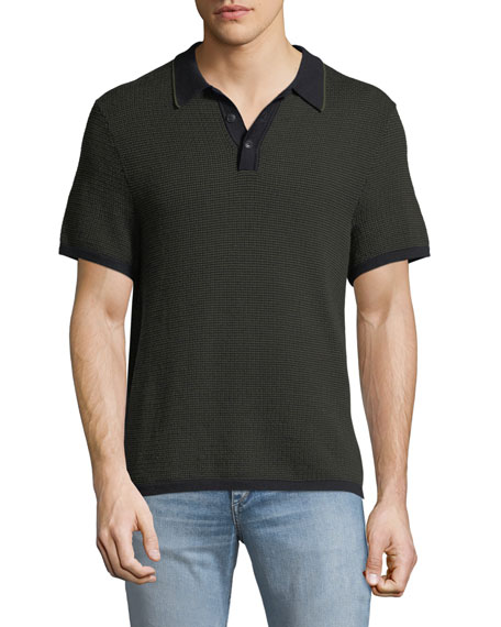 Rag & Bone Men's Finn Textured Graphic-Stitch Polo