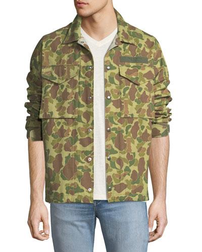 Camouflage-Print Flight Shirt Jacket