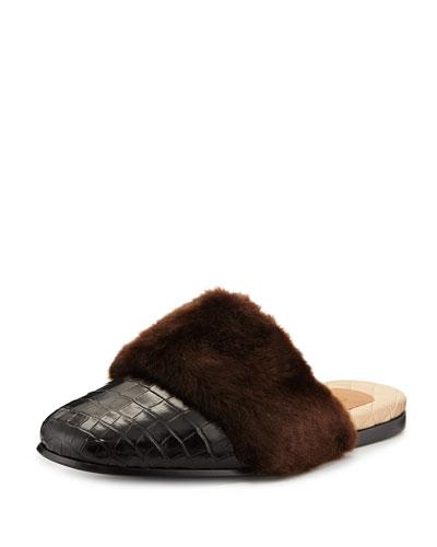 Men's Lawrence Crocodile Fur-Trim Slipper