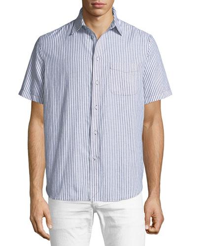 Striped Short-Sleeve Beach Shirt