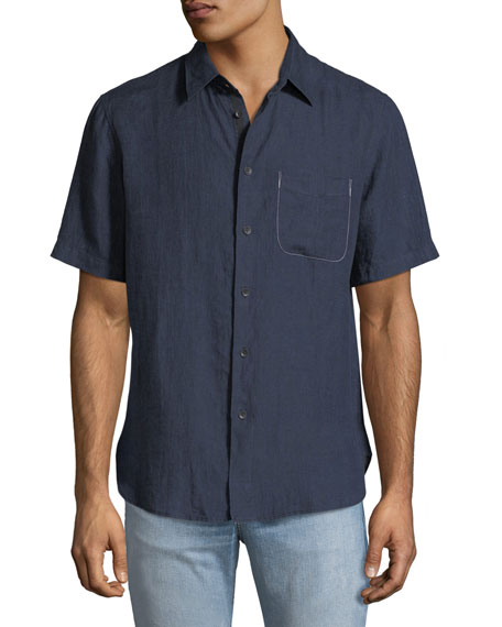 Rag & Bone Men's Short-Sleeve Linen Beach Sport