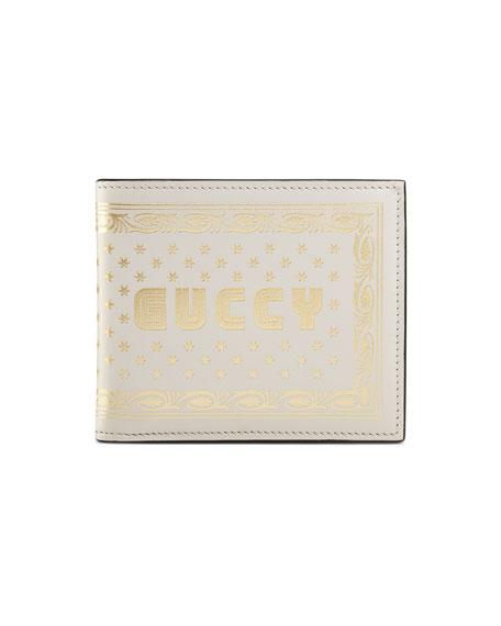 GUCCY Logo Bi-Fold Leather Wallet, White/Gold