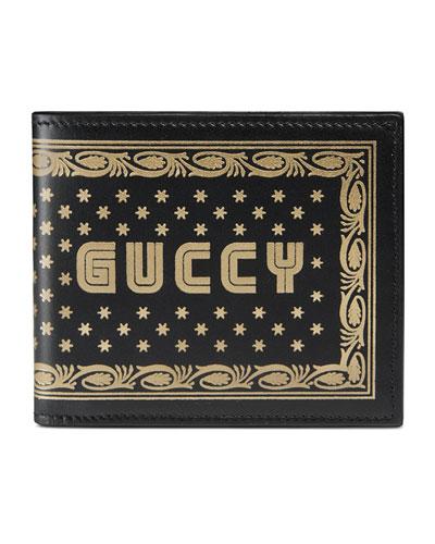 GUCCY Logo Bi-Fold Leather Wallet
